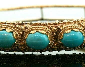 Vintage 7 Oval Turquoise 14K Yellow Gold Bangle