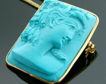 Vintage Italian 18k Yellow Gold Carved Turquoise Cameo on a 14K Yellow Gold Chain