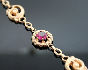 Antique Bracelet - Antique 14k Yellow Gold and Synthetic Ruby Bracelet