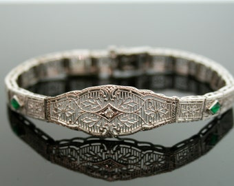 Antique Bracelet - Antique 10k White Gold Filigree Bracelet with Diamonds and Synthetic Emeralds