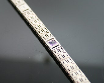 Antique Bracelet - Antique 14k White Gold Filligree Bracelet with a Diamond and Amethysts