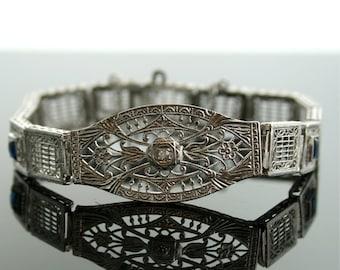 Antique Bracelet - Antique Edwardian 14k White Gold Diamond  Filigree Bracelet with Synthetic Sapphires