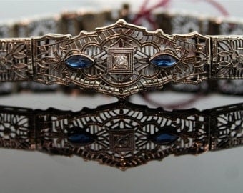 Antique Edwardian 10k White Gold Diamond and Synthetic Sapphire Filigree Bracelet