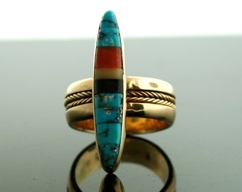 Vintage Navajo 14k Yellow Gold and Inlaid Stone Jimmie King Jr. Ring