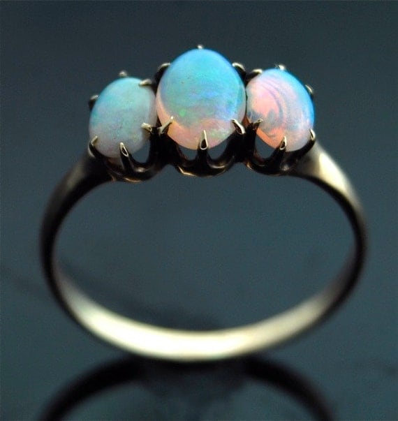 Antique Opal Ring - 14k Rose Gold with Three Oval Opals