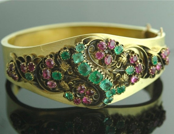 Antique Bracelet - Antique Victorian Jewelry - Bracelet, Gold, Rubies, Emeralds