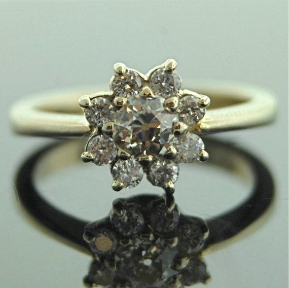 Antique Diamond Ring - 14k White Gold Flower Ring