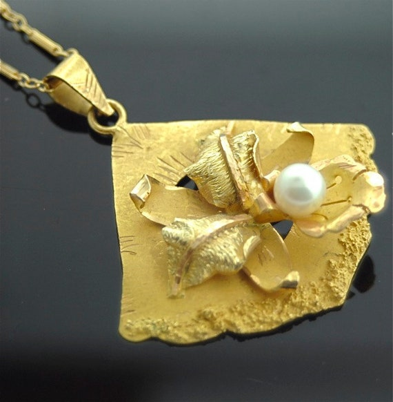 Antique 18k and 14k Yellow Gold Pearl Necklace