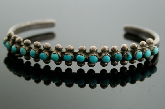 Zuni Turquoise Bracelet - Sterling Silver and Turquoise Bracelet