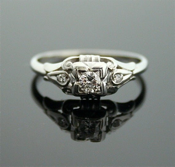 1930s Engagement Ring - White Gold and Diamond Antique Ring