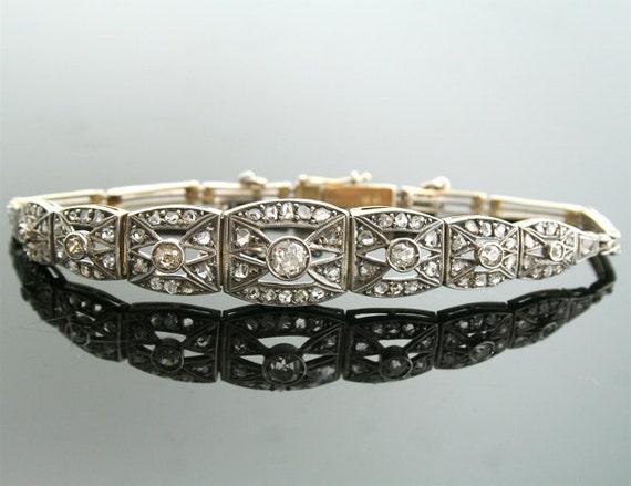 Art Deco Diamond Bracelet-Antique 18k White Gold 2.00ct Total Weight Rose Cut Diamond Bracelet