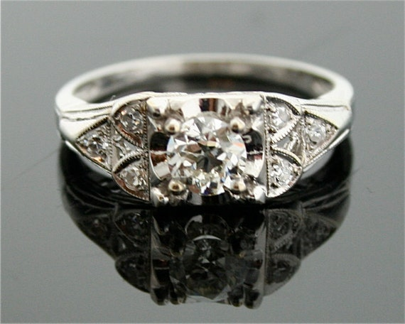 1930s Engagement Ring - 18k White Gold and Diamond Ring