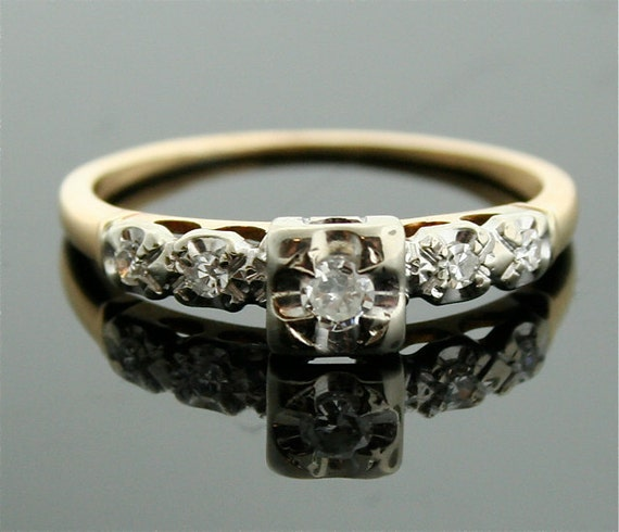 1930s Engagement Ring White And Yellow Gold Antique Ring