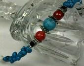 Turquoise, Hematite, Jade, Howlite Stone Bracelet with Dragonfly Dangle Healing Stones