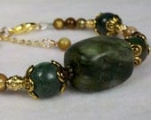 Earthtones Jade and Jasper Semi-Precious Stone Bracelet with Antique Gold and Amber Shell Accents