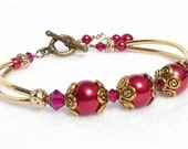 ROMANCE Ruby Swarovski with Faux Red Pearl Bracelet, set with gold accents, Bridal, Bridesmaid, Nature Lover, Wedding