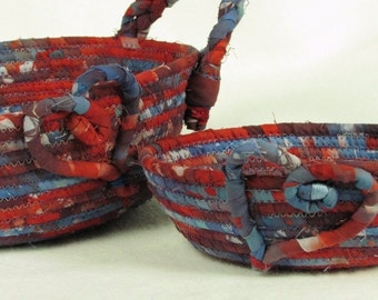 "Red-White-Blue ""Americana"" Set Hand-Dyed Batik Coiled Fabric Basket"