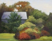 Landscape painting original oil painting 9 x 12 stretched canvas Autumn Garden and Shed