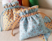 Pair of  Drawstring Bags - blue and yellow