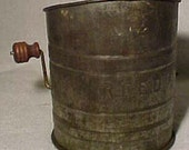 1920s Country Primative Tin Reed Flour Sifter with wood handles, Another Great Vermont Attic Find