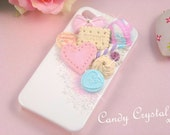 MADE to ORDER Cute Zakka Kawaii Sorbet iPhone 4 / 4s Case Cover - Deco sweets, whipped cream, SWAROVSKI Elements