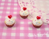 6 x Candy Heart Cupcake Cake Cabochon Set for Kawaii Crafts, Decoden, Jewelry Jewellery Making etc - 15 x 16mm