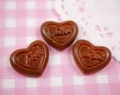 6 x Milk Chocolate Love Heart Flat Back Resin Cabochon Beads for Kawaii Crafts, Decoden etc - 21mm