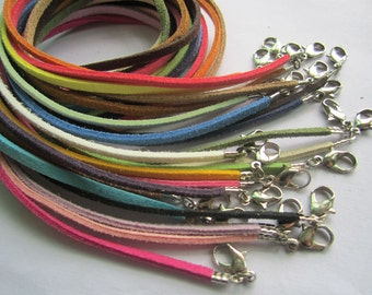 22pcs 16-18inch (more than22colors)mixture 2.5mm suede leather necklace cords small finish end