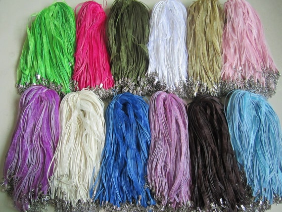 28pcs17-20inch (more than28colors you can pick colors)mixture organza ribbon necklace cords with strong jumping ring and waxed cotton cord