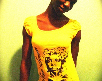 Nina Simone- (L) sunshine sheer shirred cap sleeve OR (L) pale yellow capped sleeve crew-T