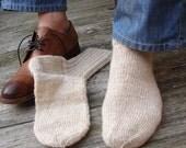 Mens Socks Handspun handknit Size 9\10\11\12 U.S. classic oldfashion white off wool socks farmer lumbersexual style