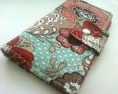 Womens Wallet Bifold Teal Mint Green Peach Floral Vegan Wallet Fall Accessories Travel Passport
