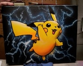 Pikachu Pokemon with Lightning (or fire or any background you like)