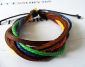 Real 3PCS Leathers and Cotton Ropes Woven Cuff Bracelet  221S