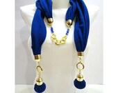 Scarf, Navy Blue   Women  Jersey  Scarf, Elegant, Shawl, Neckwarmer, Valentines day, Accessories, , Winter trends and Fashion
