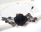 Black Lace Necklace, Women accessories,  3D Flower,