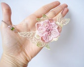 Pink and Apple Green Lace Necklace, Women accessories,  3D Flower,