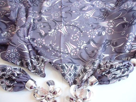 Cotton Scarf,  Women Scarf, Tulip, Lilac, Purple, Mothers day gifts, Wedding gifts