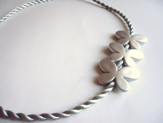 Butterfly Necklace, Silver Grey