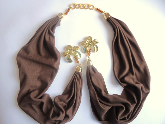 Brown Scarf , Spring trends and Fashion, Jewelry Scarf