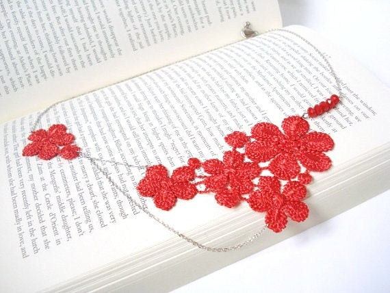 Lace Necklace, Women accessory,  Red Floral