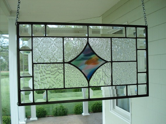 Stained glass window panel clear textured beveled for Textured glass panels