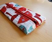 Mushrooms in Maroon Pencil Case - Quilted Zipper Pouch