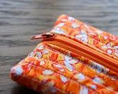 Sunburst Pencil Case - Quilted Orange Flowers Zipper Pouch