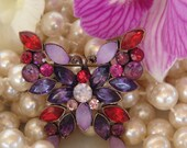 Buterfly sparkly stone brooch, Vintage Crystals in purples, reds and pink
