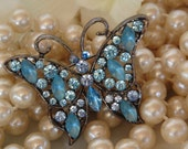 Buterfly Brooch, Blue Crystals , Vintage Style