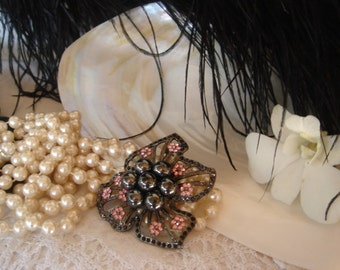 Vintage Brooch large, Faux Pearls and Crystals