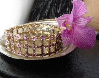 Vintage Bracelet Gold tone and Crystal, Pink and purple Crystals
