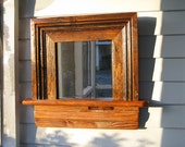 Ledged Mirror with Antique Heart Pine Frame