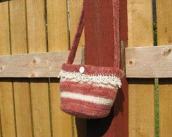 Handmade crochet felted wool bag